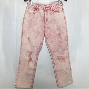 PACSUN DISTRESSED  MOM JEANS BLEACHED PINK